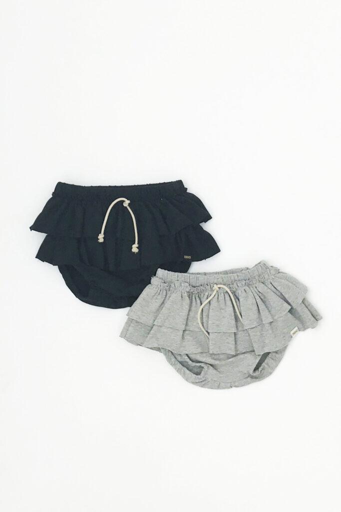 CULOTTE VOLANTES omho algodón orgánico niña princesa black and grey B