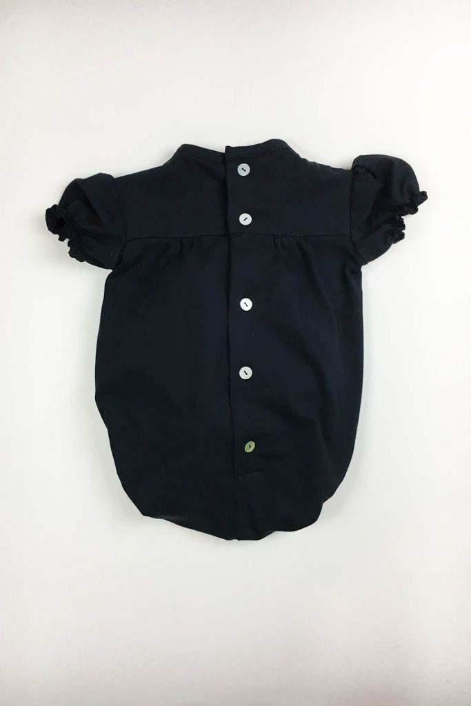 body abullonado cerrado omho negro nino nina unisex algodón organico 3
