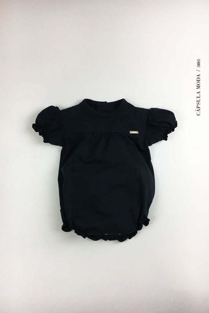 body abullonado cerrado omho negro nino nina unisex algodón organico