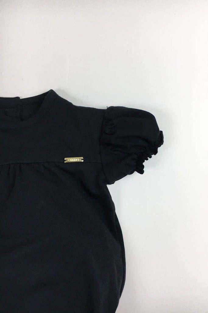body cerrado abullonado negro algodón organico nino nina omho