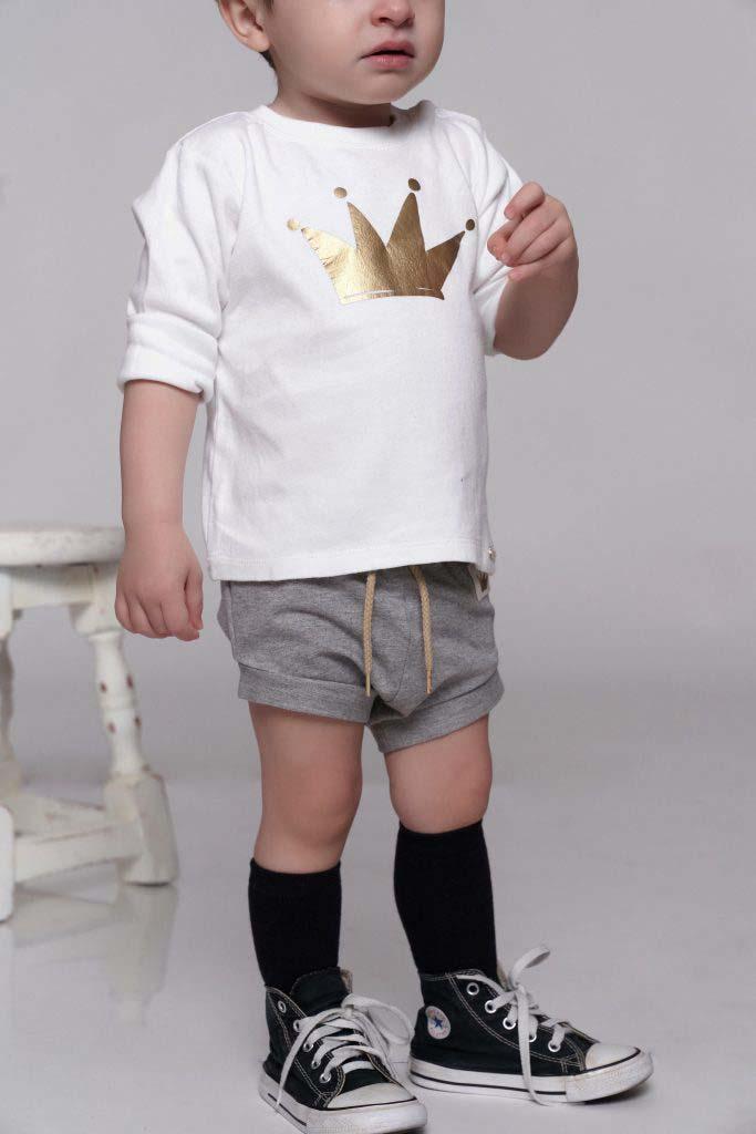 camiseta baby corona dorada algodón orgánico omho unisex nino nina