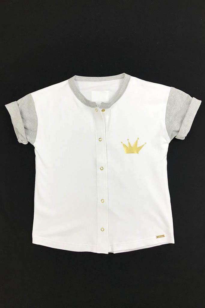 camiseta beisbolera gris y blanca unisex corona dorada algodón orgánico2