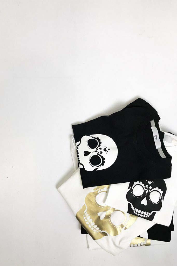camiseta calavera omho blanca y negra algodón orgánico