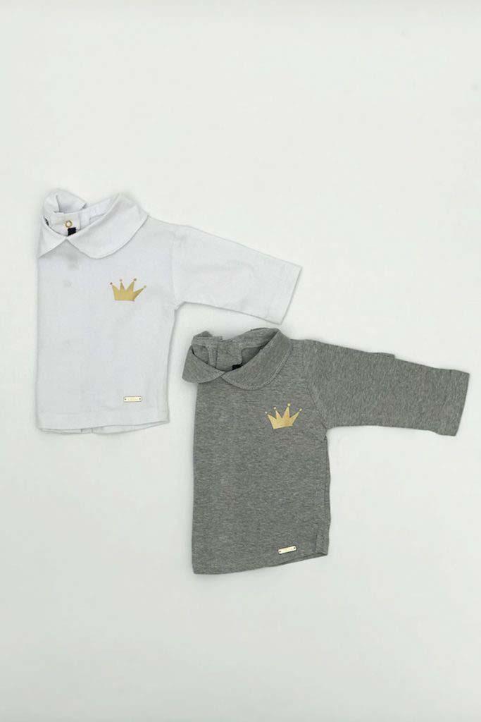 camiseta cuello bebe corona dorada gris omho algodón orgánico unisex
