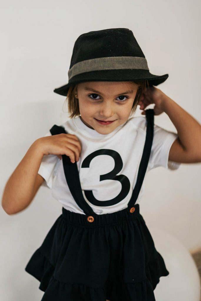 camiseta número cumpleaños algodón organico unisex nina