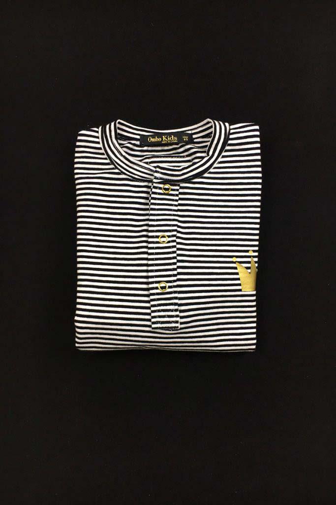 camiseta panadera rayas corona dorada algodón orgánico unisex