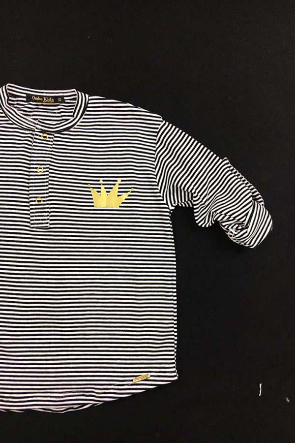 camiseta panadera rayas corona dorada algodón orgánico unisex2