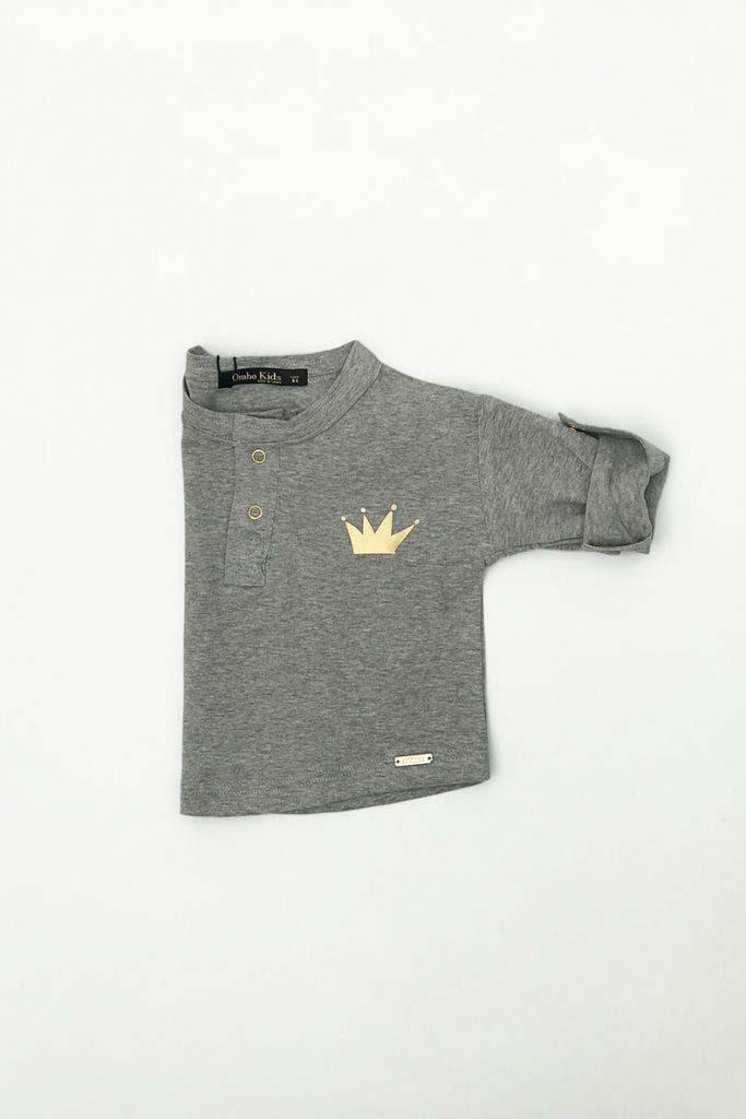 camiseta panadera unisex algodón orgánico gris omho corona dorada