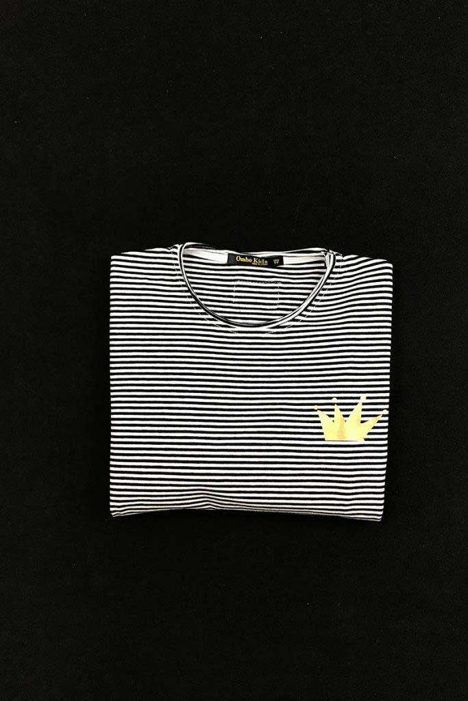 camiseta rayas corona dorada pequeña algodón orgánico omho1