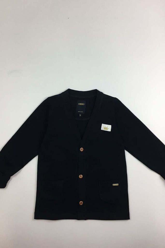 chaqueta bolsillos omho negra algodón orgánico unisex