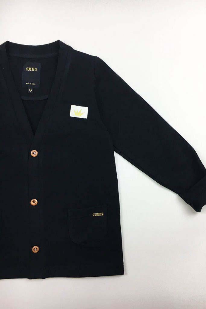 chaqueta bolsillos omho negra algodón orgánico unisex1