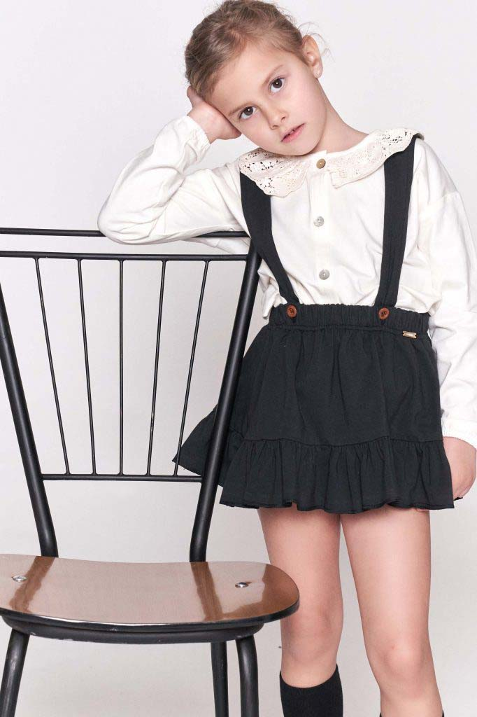 falda volante omho negra algodon organico