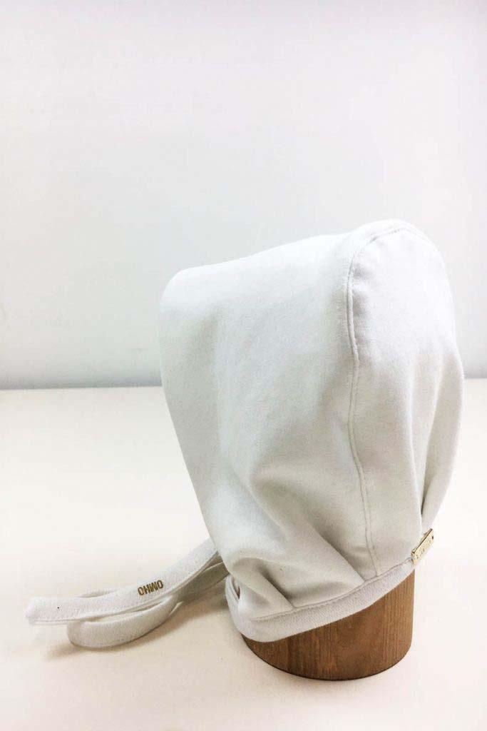 gorro atado bebe blanco omho algodón orgánico 1