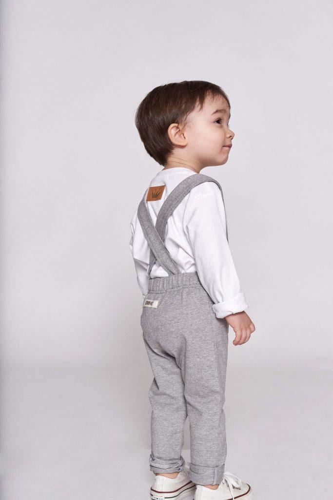 pantalon gris tirantes omho algodón orgánico nino nina unisex